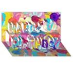 Anemones Happy Birthday 3D Greeting Card (8x4)