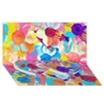 Anemones Twin Heart Bottom 3D Greeting Card (8x4)