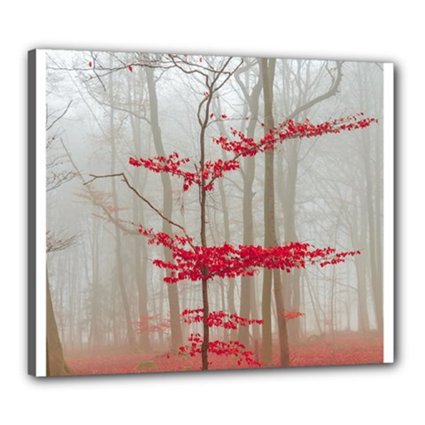 Magic Forest In Red And White Canvas 24  X 20  by wsfcow