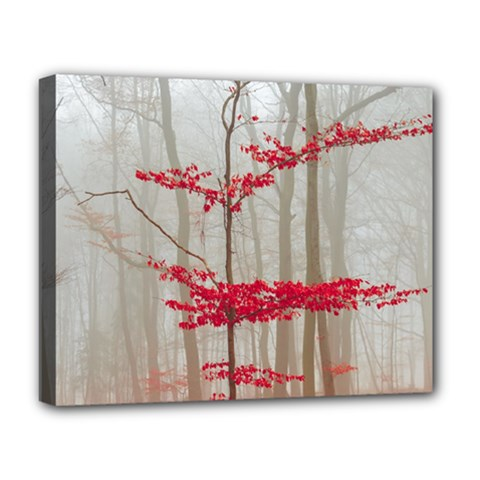 Magic Forest In Red And White Deluxe Canvas 20  X 16   by wsfcow