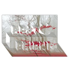 Magic Forest In Red And White Best Friends 3d Greeting Card (8x4) by wsfcow