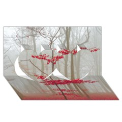 Magic Forest In Red And White Twin Hearts 3d Greeting Card (8x4) by wsfcow