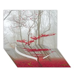 Magic Forest In Red And White Heart Bottom 3d Greeting Card (7x5) by wsfcow