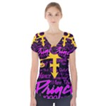 Prince Poster Short Sleeve Front Detail Top