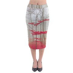 Magic Forest In Red And White Midi Pencil Skirt by wsfcow