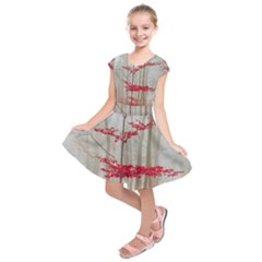 Magic Forest In Red And White Kids  Short Sleeve Dress by wsfcow