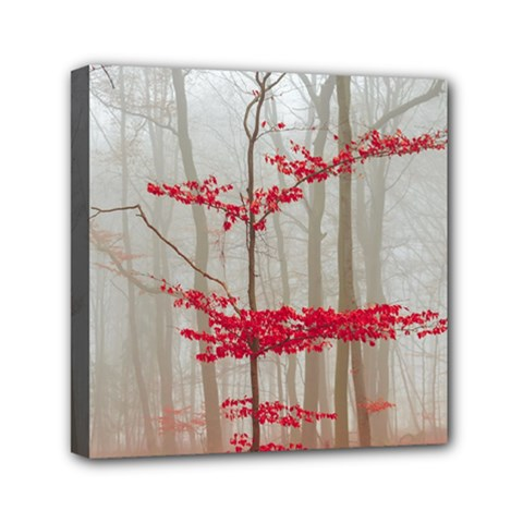 Magic Forest In Red And White Mini Canvas 6  X 6  by wsfcow