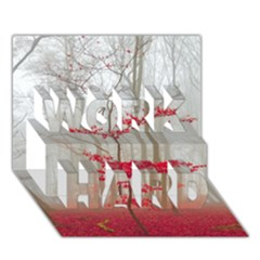Magic Forest In Red And White WORK HARD 3D Greeting Card (7x5) by wsfcow