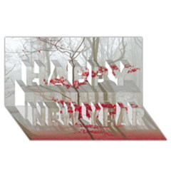 Magic Forest In Red And White Happy New Year 3d Greeting Card (8x4) by wsfcow