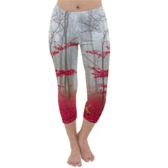 Magic Forest In Red And White Capri Winter Leggings  by wsfcow
