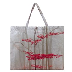Magic Forest In Red And White Zipper Large Tote Bag by wsfcow