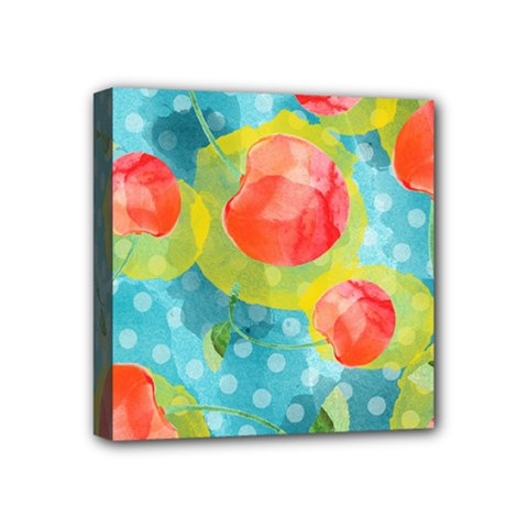 Red Cherries Mini Canvas 4  X 4  by DanaeStudio