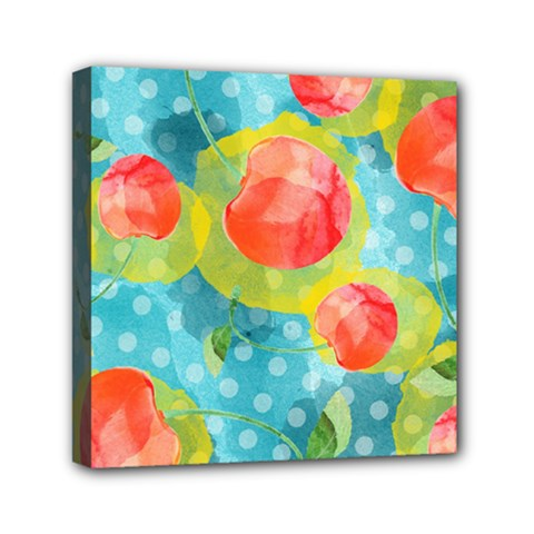 Red Cherries Mini Canvas 6  X 6  by DanaeStudio