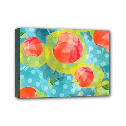 Red Cherries Mini Canvas 7  X 5  by DanaeStudio