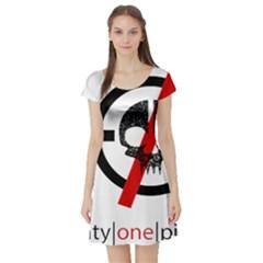 Twenty One Pilots Skull Short Sleeve Skater Dress by Onesevenart