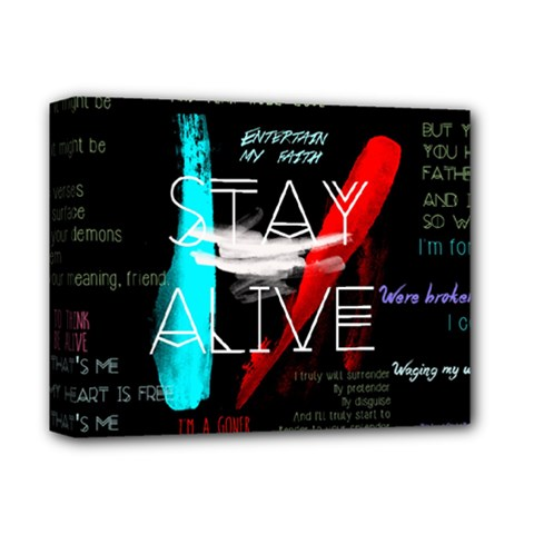 Twenty One Pilots Stay Alive Song Lyrics Quotes Deluxe Canvas 14  X 11  by Onesevenart