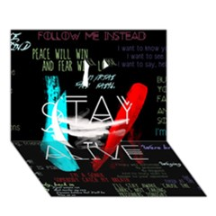 Twenty One Pilots Stay Alive Song Lyrics Quotes Apple 3d Greeting Card (7x5) by Onesevenart