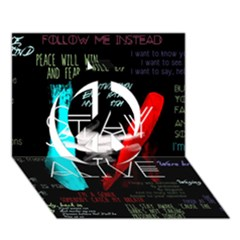 Twenty One Pilots Stay Alive Song Lyrics Quotes Peace Sign 3d Greeting Card (7x5) by Onesevenart