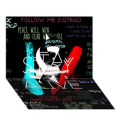 Twenty One Pilots Stay Alive Song Lyrics Quotes Ribbon 3d Greeting Card (7x5) by Onesevenart