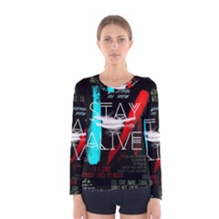 Twenty One Pilots Stay Alive Song Lyrics Quotes Women s Long Sleeve Tee by Onesevenart