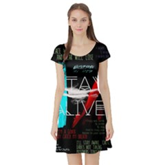 Twenty One Pilots Stay Alive Song Lyrics Quotes Short Sleeve Skater Dress by Onesevenart