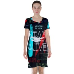 Twenty One Pilots Stay Alive Song Lyrics Quotes Short Sleeve Nightdress by Onesevenart
