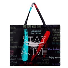 Twenty One Pilots Stay Alive Song Lyrics Quotes Zipper Large Tote Bag by Onesevenart