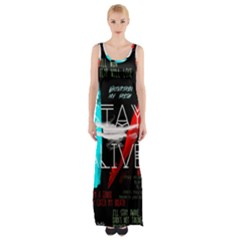 Twenty One Pilots Stay Alive Song Lyrics Quotes Maxi Thigh Split Dress by Onesevenart