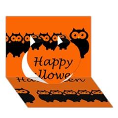 Happy Halloween   Owls Heart 3d Greeting Card (7x5) by Valentinaart