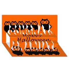 Happy Halloween   Owls Congrats Graduate 3d Greeting Card (8x4) by Valentinaart