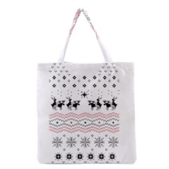 Ugly Christmas Humping Grocery Tote Bag by Onesevenart