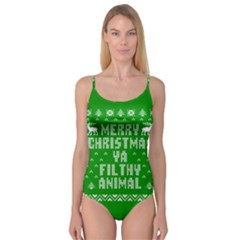Ugly Christmas Ya Filthy Animal Camisole Leotard  by Onesevenart