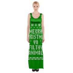 Ugly Christmas Ya Filthy Animal Maxi Thigh Split Dress by Onesevenart