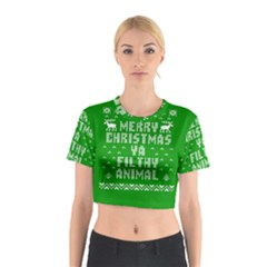 Ugly Christmas Ya Filthy Animal Cotton Crop Top by Onesevenart