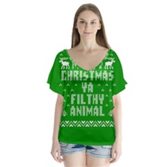 Ugly Christmas Ya Filthy Animal Flutter Sleeve Top by Onesevenart
