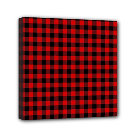 Lumberjack Plaid Fabric Pattern Red Black Mini Canvas 6  X 6  by EDDArt