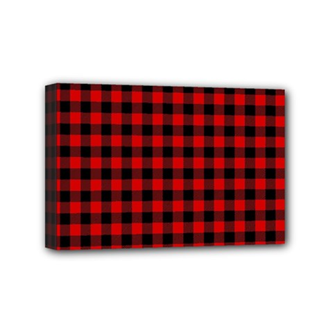 Lumberjack Plaid Fabric Pattern Red Black Mini Canvas 6  X 4  by EDDArt