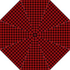 Lumberjack Plaid Fabric Pattern Red Black Folding Umbrellas by EDDArt
