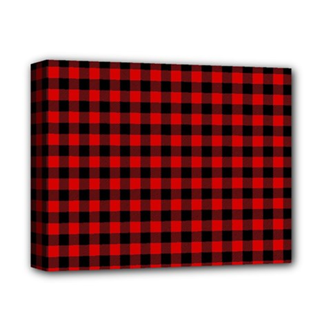 Lumberjack Plaid Fabric Pattern Red Black Deluxe Canvas 14  X 11  by EDDArt
