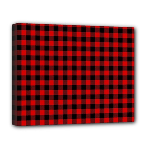 Lumberjack Plaid Fabric Pattern Red Black Deluxe Canvas 20  X 16   by EDDArt