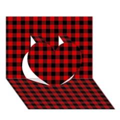 Lumberjack Plaid Fabric Pattern Red Black Heart 3d Greeting Card (7x5) by EDDArt