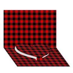 Lumberjack Plaid Fabric Pattern Red Black Heart Bottom 3d Greeting Card (7x5) by EDDArt
