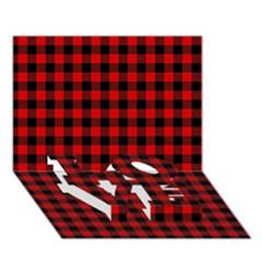 Lumberjack Plaid Fabric Pattern Red Black Love Bottom 3d Greeting Card (7x5) by EDDArt