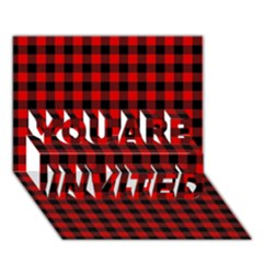 Lumberjack Plaid Fabric Pattern Red Black You Are Invited 3d Greeting Card (7x5) by EDDArt