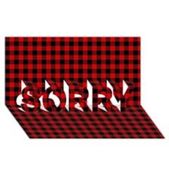 Lumberjack Plaid Fabric Pattern Red Black Sorry 3d Greeting Card (8x4) by EDDArt
