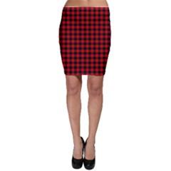 Lumberjack Plaid Fabric Pattern Red Black Bodycon Skirt by EDDArt