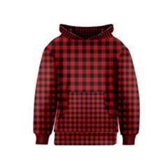 Lumberjack Plaid Fabric Pattern Red Black Kids  Pullover Hoodie by EDDArt