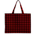 Lumberjack Plaid Fabric Pattern Red Black Zipper Mini Tote Bag