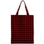 Lumberjack Plaid Fabric Pattern Red Black Zipper Classic Tote Bag
