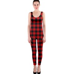 Lumberjack Plaid Fabric Pattern Red Black Onepiece Catsuit by EDDArt